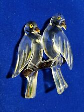 """NOS/ANTIQUE-Vtg 3"""" CARVED LUCITE - LOVE BIRDS - BROOCH/PIN Clear&Wood Look/Multi"""