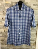 M&S Collezione Mens Size L Blue Checked Short Sleeve Shirt