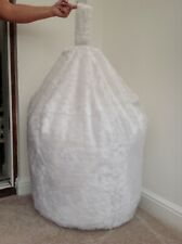 Cover only bean bag adult white faux fur 6 cubic ft size soft toy storage