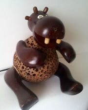 More details for hippopotamus, quirky hippo door stop - belly made of a coconut shell, was a lamp