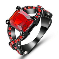 Noble Red Ruby CZ Engagement Ring 10KT Black Gold Filled Women Jewelry Size 7
