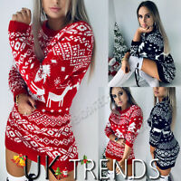 UK Womens Christmas Jumper Knitted Mini Dress Santa Snowman Long Sleeves Ladies