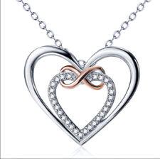 Unendlichkeit Herz 2 Herzen Halskette Anhänger Kristall 925 Sterling Silber