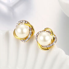 Classic 18K Yellow Gold Filled Clear Crystal Pearl Stud Earrings