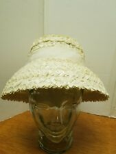 Vintage ladies Hat Cream color Straw Big Brim