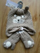 YOUNG TODDLER UNISEX GREY BEAR SOFT KNIT HAT & MITTENS SET 3 4 5 6 YEARS BNWT