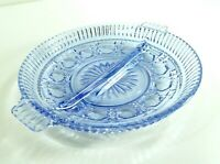 Vintage Ice Blue glass Relish Dish Round Handled Divided 8.5""