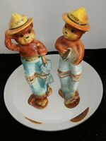 Vintage 4-in Ceramic Smokey Bear Salt And Pepper Shakers Set Made In Japan