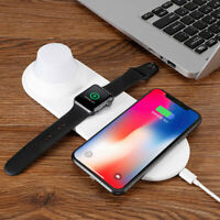 Qi Wireless Fast Charger Dock 3 in 1 Stand For Apple Watch iPhone X Xs Led Light