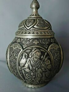 Orientalische Deckelvase Handarbeit in Niello ziseliert, Silber? 770 Gramm