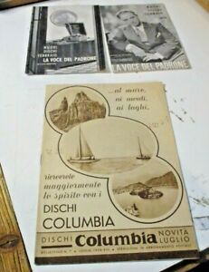 lotto 3 CATALOGHI DISCHI 78 GIRI 1938/40 - LA VOCE DEL PADRONE COLUMBIA