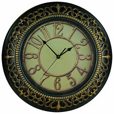 Gold Royal Motif Large 35.5cm Round Rustic Wall Clock with Embossed Effect