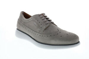Geox U Winfred C Mens Gray Suede Oxfords & Lace Ups Wingtip & Brogue Shoes 8
