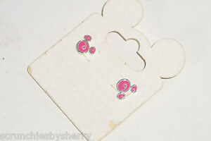 Disney Mickey Icon Pink Stud Earrings Pierced Sliver Plate Theme Parks New