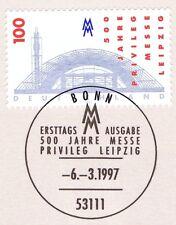 BRD 1997: Leipziger Messeprivileg Nr. 1905 mit Bonner Ersttagsstempel! 1A 1610