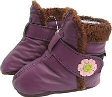 carozoo booties purple 2-3y soft sole leather baby shoes