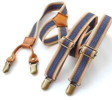 BDXJ2503 Men's Unisex Casual Striped Style Adjustable Clip-on Suspenders Braces