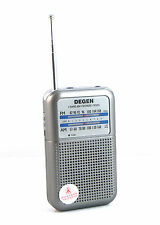 Best DEGEN DE333 FM AM Radio Receiver Mini Handle Portable Two Bands +Track