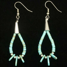 Turquoise Heishi & Silver Bead Loop Native American French Hook Earrings by Sher