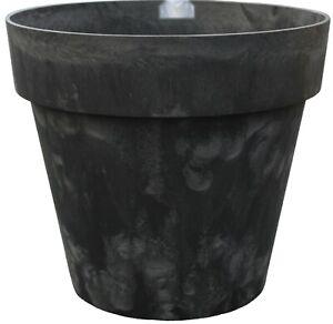 Large Barrel Planter Charcoal Grey Marbled Plant Pots 40 Litre Indoor / Outdoor