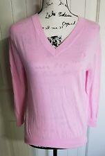 Lily Pulitzer Pink 100% Cotton V Neck Pullover Basic Sweater Women Size Medium M