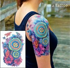 Floral Mandala Tattoo Tatuaje Temporal Tatuaje Flor Floral Color de agua de tatuaje