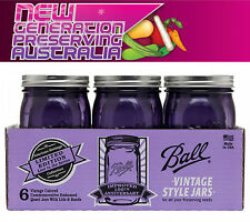 6  x Ball Mason Heritage Collection Quart Purple Wide Mouth jars and Lids