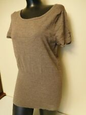 Express Striped Knit Top w/ Keyhole Back - Brown & Gold - Sz. M