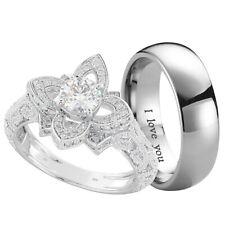 Premium Couple Ring Set - Titanium and 925 Sterling Silver Wedding Ring Set