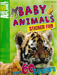 Baby Animals Sticker Activity Book (Paperback) Facts Learning for kids Children