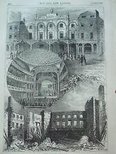 ANTIQUE PRINT C1875 THE SURREY THEATRE ENGRAVING LONDON OLD HISTORY TOPOGRAPHY