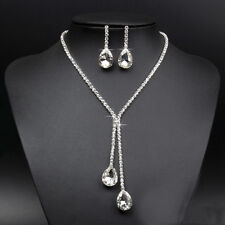 Bridal Wedding Silver Crystal Rhinestone Tear Drop Pendant Necklace Earrings Set