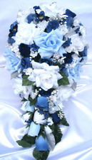 Wedding bouquet 21 piece package Bridal bouquet wedding flower SILVER BLUE WHITE