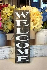 Farmhouse wood sign WELCOME wood sign front door entry rustic wood sign vertical