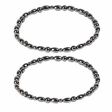 ROSENICE 2pcs Hematite Magnetic Therapy Anklets Magnetic Bracelets Therapy Heali