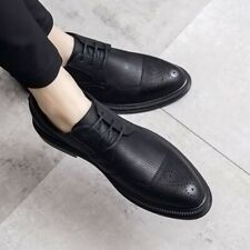 New Mens Lace Up Dress Formal Carving Hollow Out Business Leisure Leather Shoes