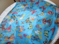 """Large printed scarf or wrap. Blue with butterflies. 45"""" x 64"""""""