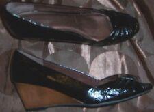 Black Wedge Heels 8.5 Patent Peep Pleat Hush Puppies Women size 8.5 New