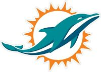 """Miami Dolphins NFL Vinyl Decal - You Choose Size 2""""-38"""""""