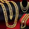 24K GOLD GF DIAMOND CUT 10MM RING CUBAN CURB CHAIN MENS SOLID NECKLACE 18-30INCH