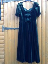 Laura Ashley Vintage Green Christmas Bow Cut Back Velvet Dress Size 16