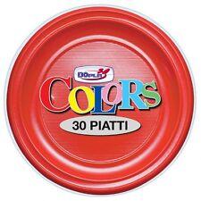 PIATTI PIANI DOPLA IN PLASTICA MONOUSO ROSSI CF.30 PZ. COORDINATO TINTA UNITA