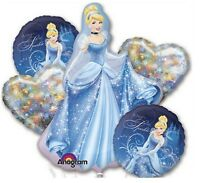 Disney Cinderella Birthday Party Favor Supplies 5CT Foil Balloons Bouquet