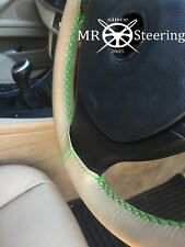 FITS MITSUBISHI MONTERO MK3 BEIGE LEATHER STEERING WHEEL COVER GREEN DOUBLE STCH