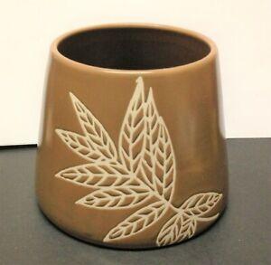 Chocolate Brown Ceramic FERN LEAF Large JAR CANDLE SHADE Topper
