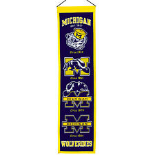 NCAA Football College Wimpel Pennant Banner MICHIGAN WOLVERINES Heritage - OVP