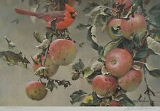"ROBERT BATEMAN ""CARDINAL AND WILD APPLES"" SIGNED & NUMBERED PRINT"