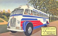 "Chicago Il ""All American Bus Lines"" Curt Teich Linen Postcard"