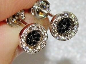 9ct White Gold Black Diamond Ladies Cluster Stud Earrings