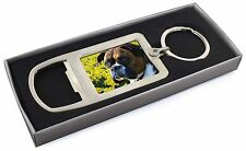 Boxer Dog with Daffodils Chrome Metal Bottle Opener Keyring in Box , AD-B27DAMBO